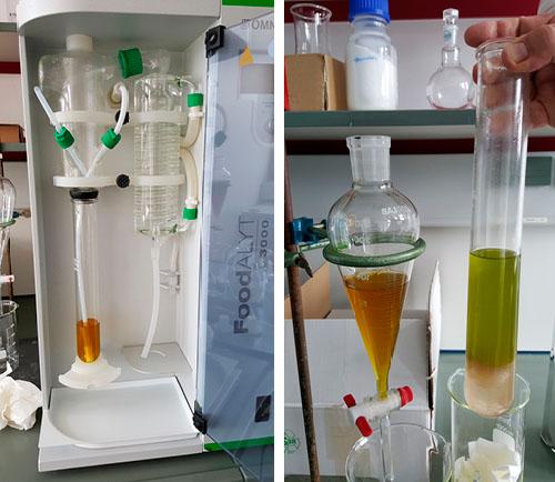 links: Durchleitung von Wasserdampf - rechts: fertig gepanschtes Olivenöl